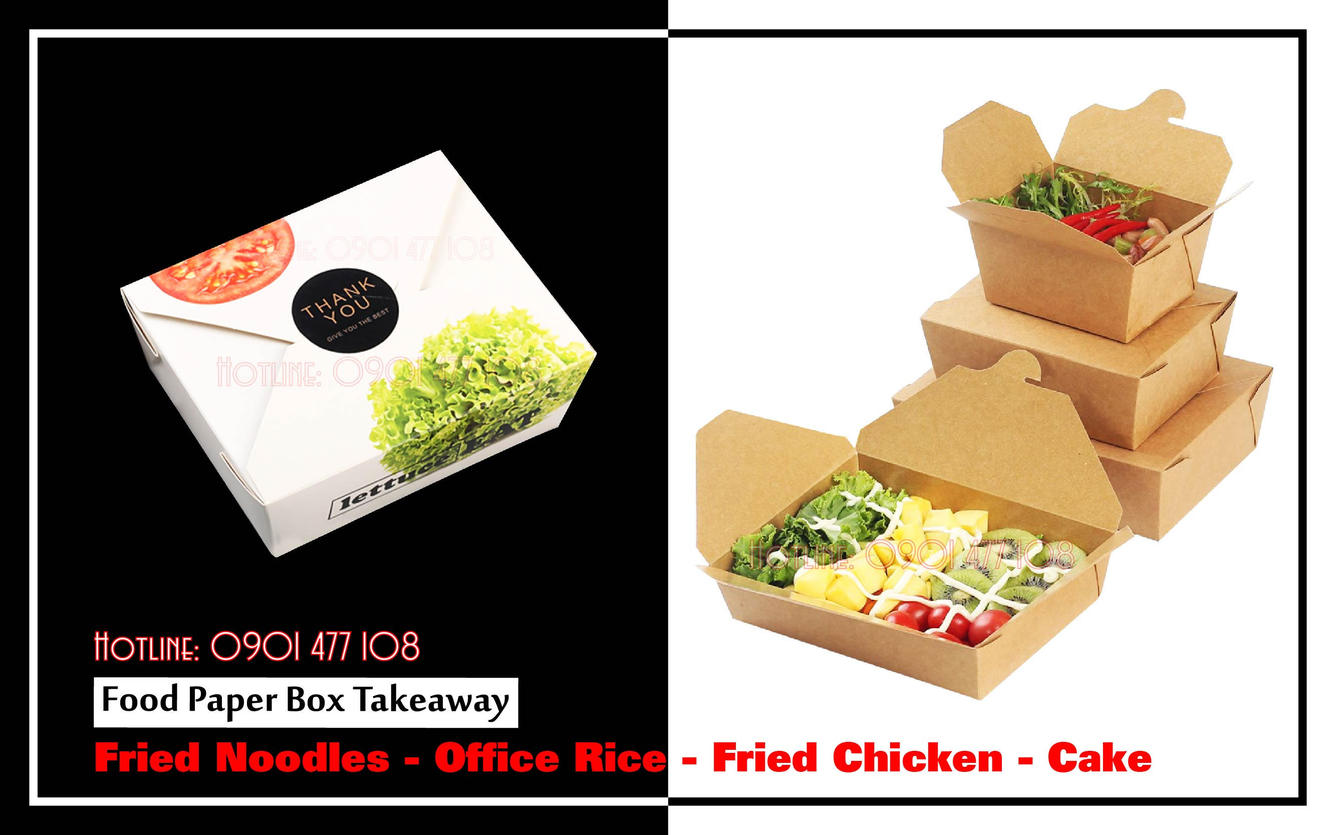 Food paper box takeaway | Fried Noodles - Office Rice - Fried Chicken - Cake